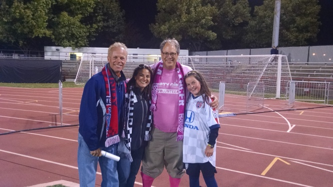 The Townsend Family, Clyde, Rebecca and Jasmine, found President Wilt pretty in pink and all smiles post-game on Oct. 11 — his team's first home win in a NASL match.