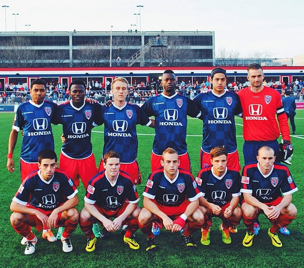 Indy's first starting line-up. From Lower Left: AJ Corrado, Mike Ambersley, Kyle Highland, Corby Moore and Chris Estridge. Upper row, from left: Kléberson, Walter Ramirez, Brad Ring, Erick Norales, Jaimi Frias and Kristian Nicht.