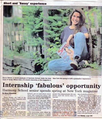 Herald Times feature on Sassy internship