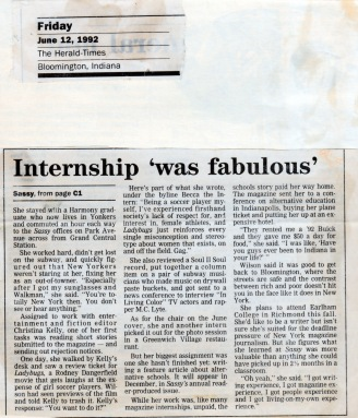 Herald Times feature on Sassy pg2internship