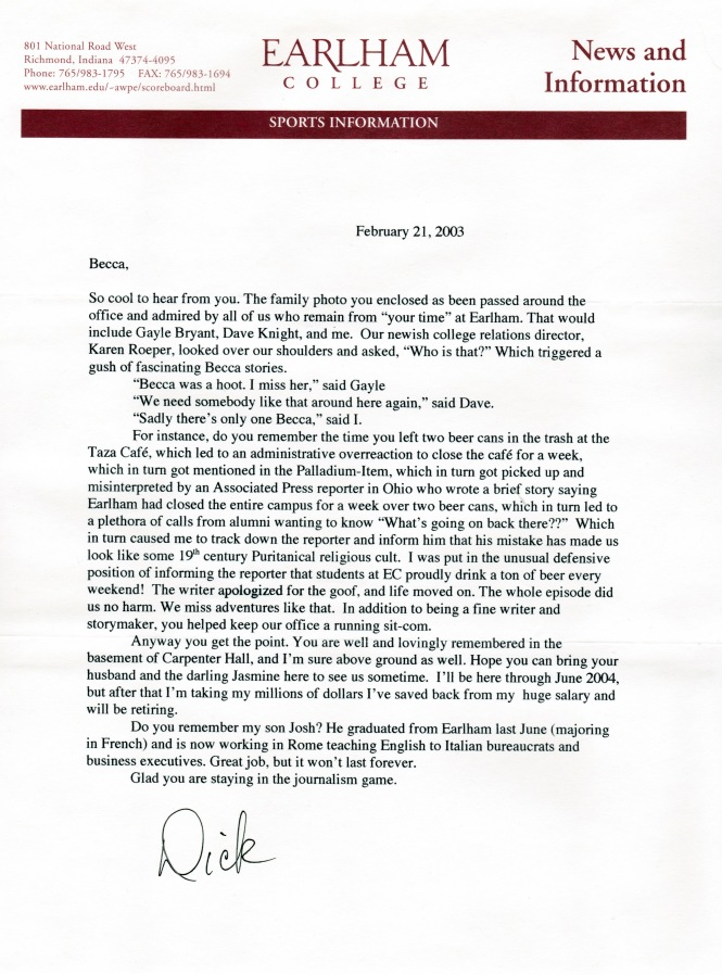 Letter from Dick Holden 2003