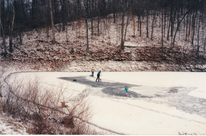 cleaning the ice at Hash Road 80s