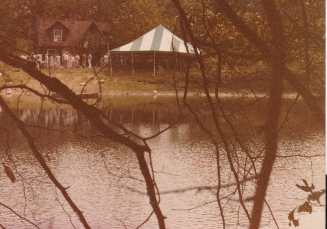 Original cabin from across the lake