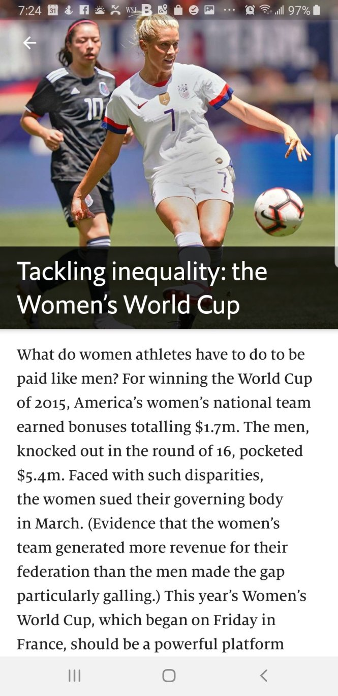 Gracias to the Economist for highlighting the high level of play in our women's game and the galling inequality in valuation between the sexes in the game.